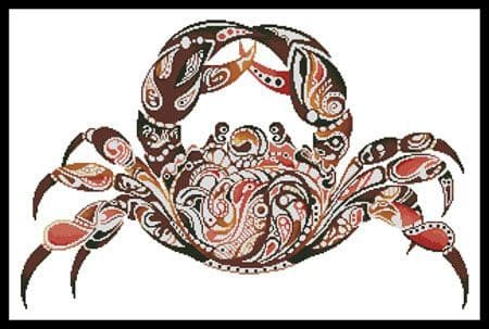Abstract Crab by Artecy printed cross stitch chart